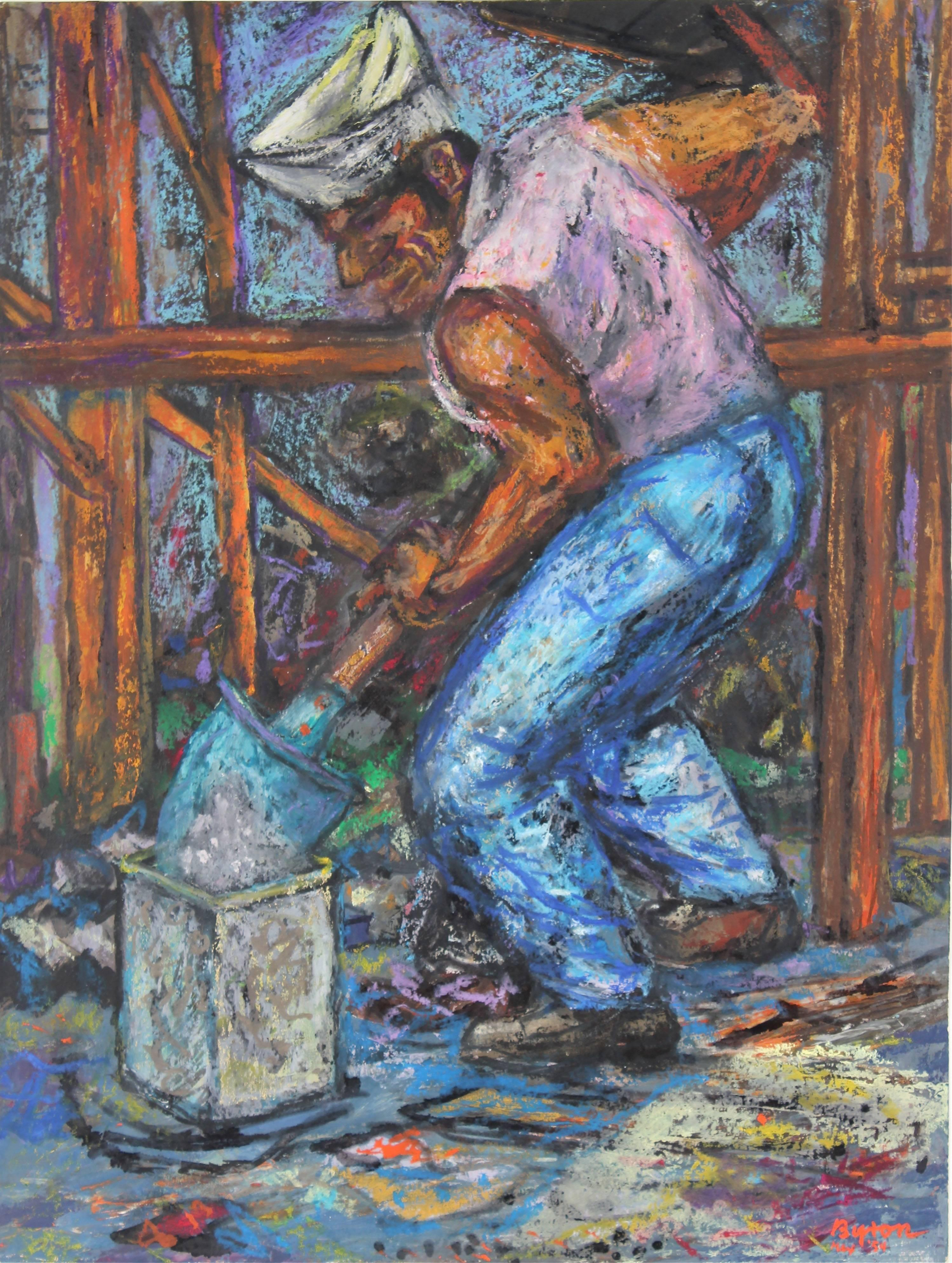 Portrait of a Worker with a Shovel, Pastel on Paper Drawing, 1954
