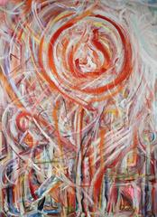 """""""Helios"""" Large Abstract Expressionist Oil"""