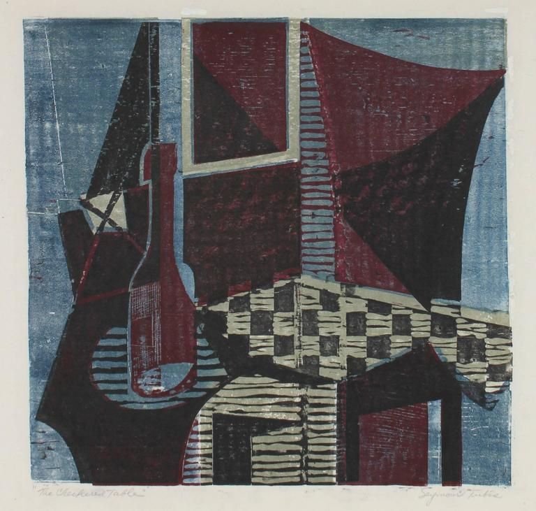 "Seymour Tubis - ""The Checkered Table"" Mid Century Woodcut 1"