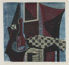 """""""The Checkered Table"""" Mid Century Woodcut"""