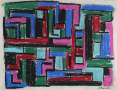 Mid Century Cubist Abstract in Pastel