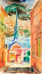 """""""Guanajuato, Mexico"""" Mid Century Watercolor Cityscape"""