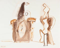 Abstracted Gouache Figures in Brown, Circa 1960s