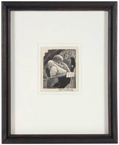 Monochromatic Modernist Figures, Linoleum Block Print on Paper
