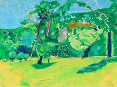 Vivid Oil Pastel Landscape, 20th Century