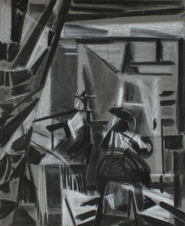Cubist Charcoal Study of Vermeer, Circa 1950