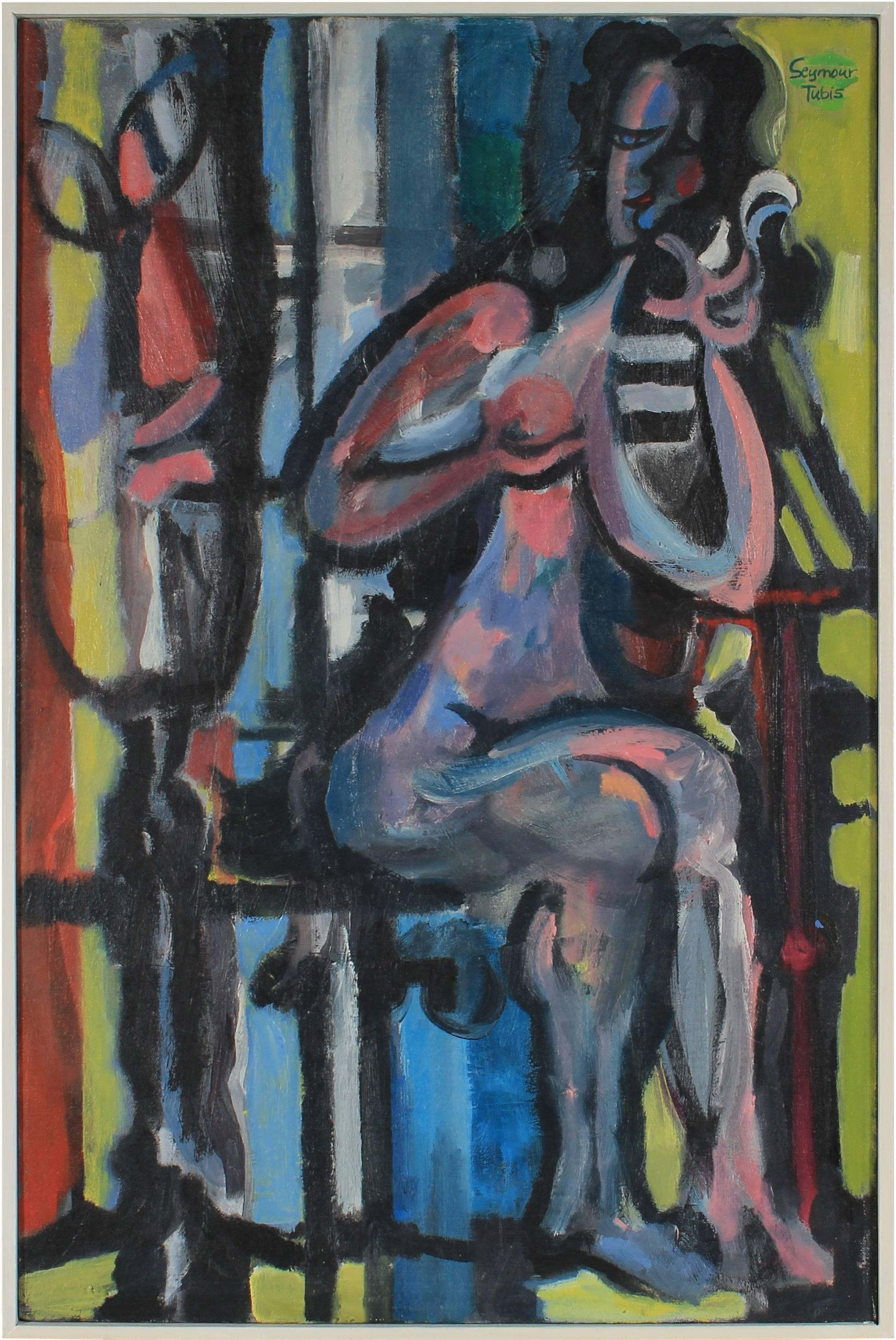 """""""The Face in the Mirror"""" Cubist Figure Painting in Oil, 1959"""