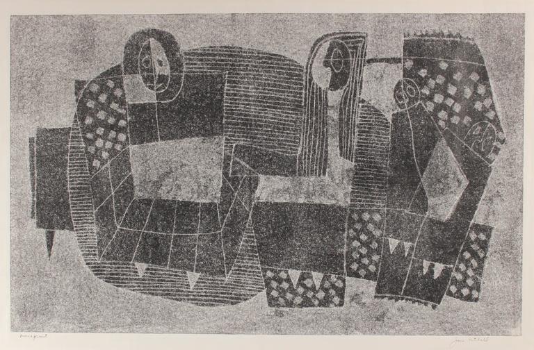 Monochromatic Cubist Figures, Monotype Print on Paper, Circa 1970s