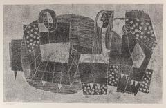 Monochromatic Cubist Figures, Monotype Print on Paper, Circa 1970s