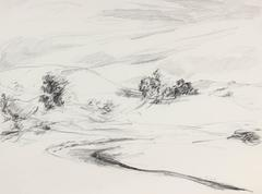 Minimalist California Landscape in Charcoal, 1987
