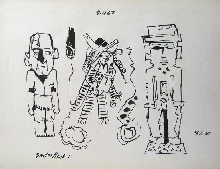 Santos Rene Irizarry Portrait - Three Modernist Figures in Ink, 1967