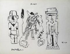 Three Modernist Figures in Ink, 1967