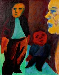 Expressionist Figures, Oil on Canvas, Circa 1940s