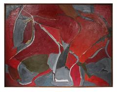Large Abstract Expressionist Oil in Red