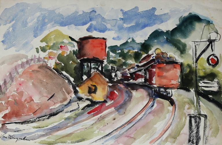 Richard Van Wingerden Landscape Art - Northern California Train Tracks in Watercolor, Circa 1950s