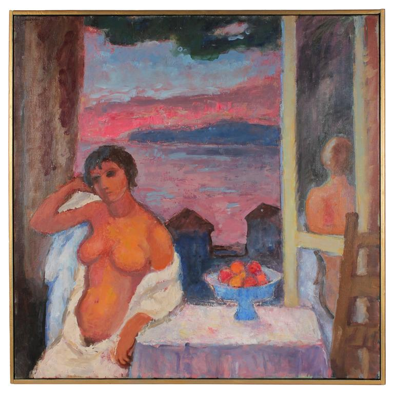 """Cannery Row Nude"" Sunset Landscape Oil Painting, 20th Century"