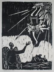 """Daedalus & Icarus"" Figurative Woodcut Print, 1963"
