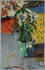 """""""Floor Flowers"""" Modernist Still Life with Lilies, 1971"""
