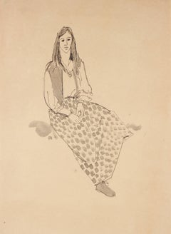 Seated Hippie Girl Portrait, Ink on Paper, Circa 1970s