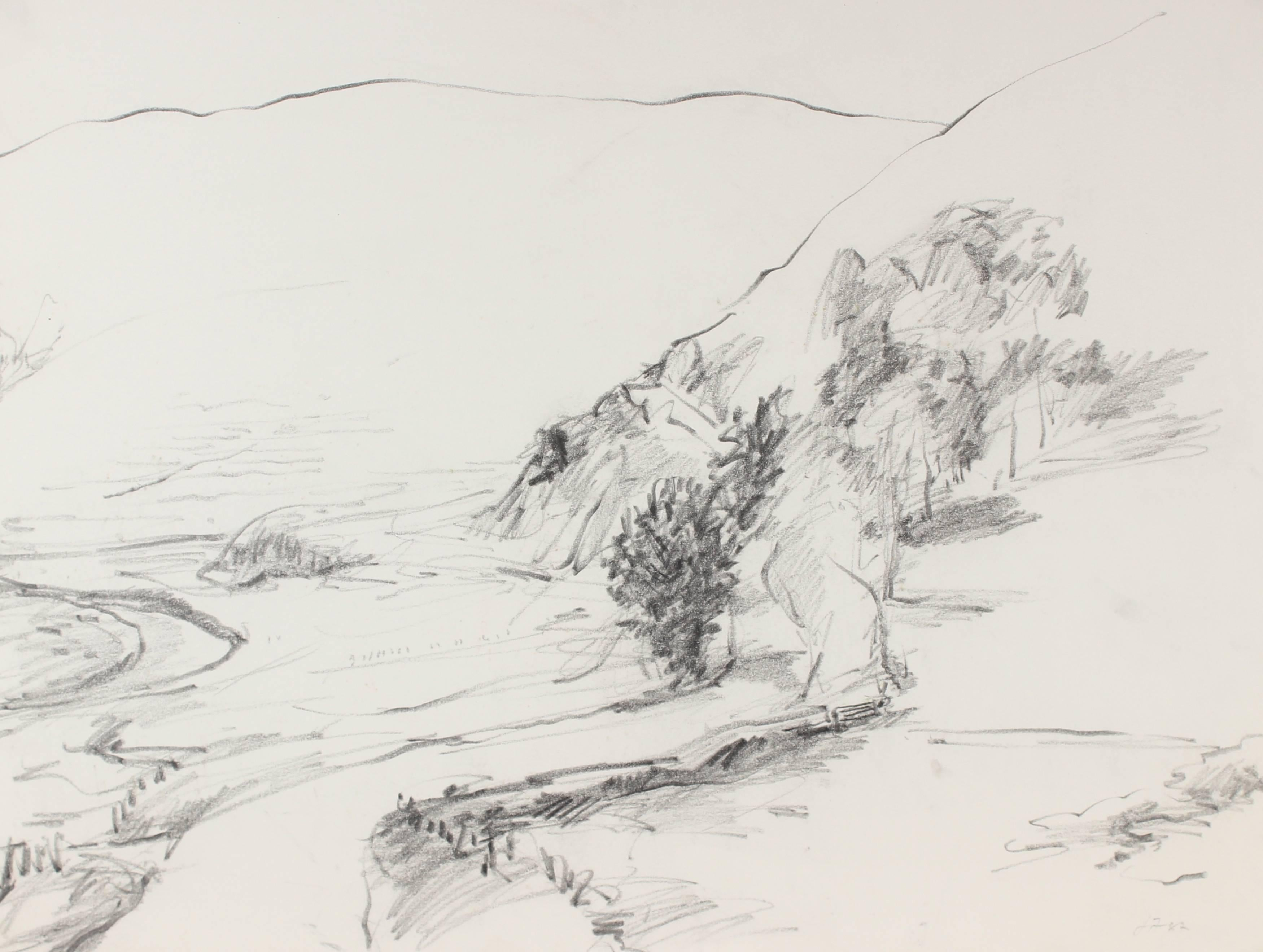 California Country Road in Charcoal, 1987