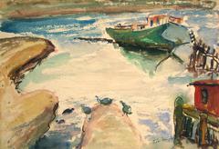 Bay Area Harbor, Watercolor Painting, Circa 1950s