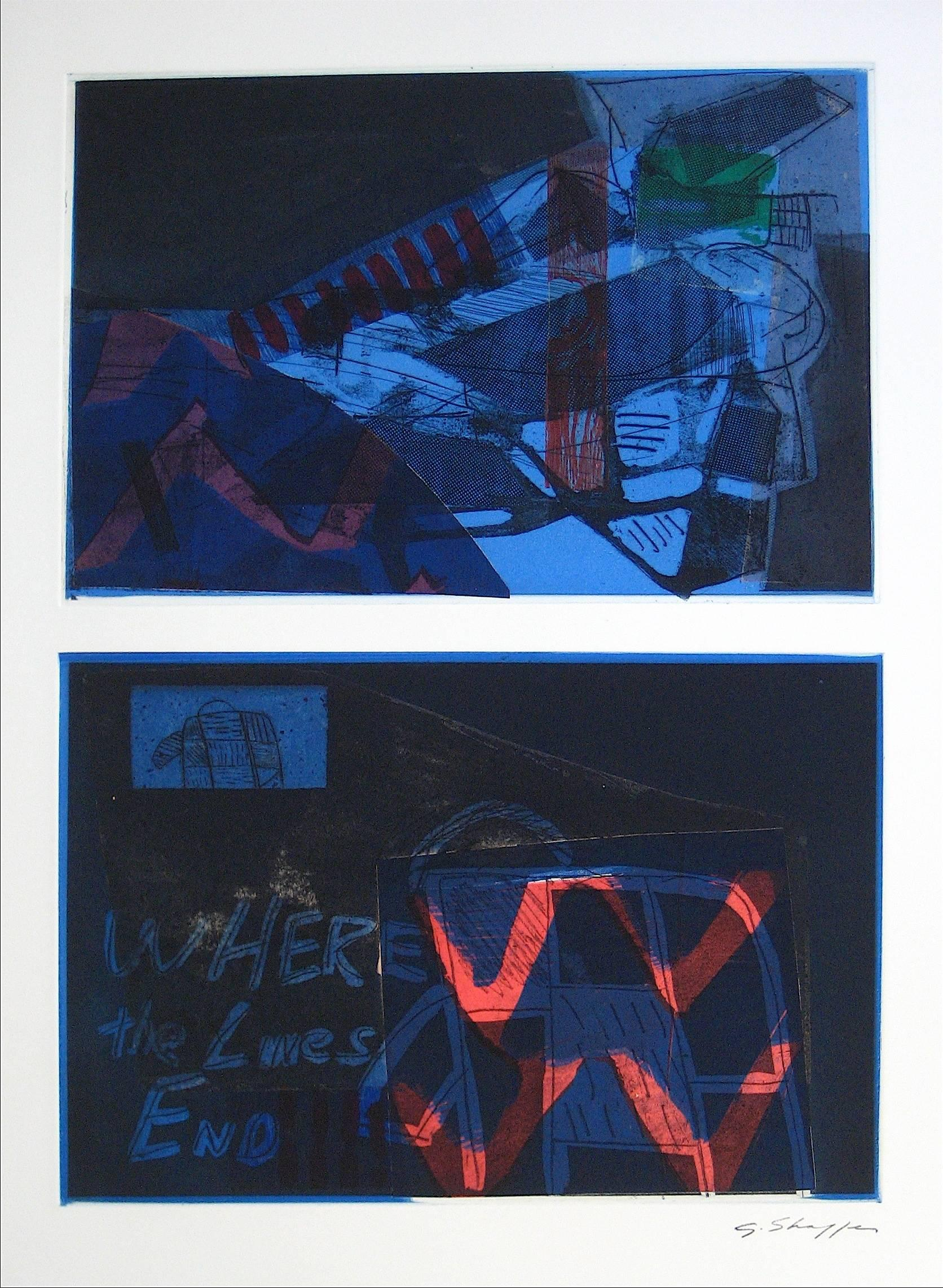 Expressionist Mixed Media Print in Blue, 1994