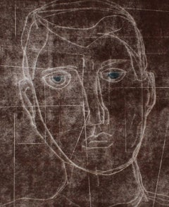 """""""Self Portrait I"""" Monoprint and Gouache Painting in Brown, 2014"""