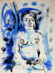 Expressionist Figure in Blue & Black