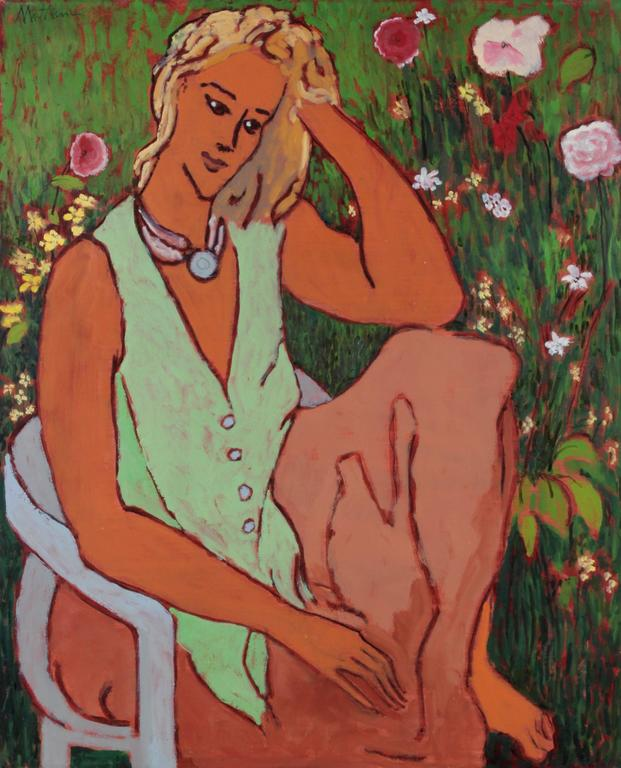 Seated Portrait of a Woman in a Garden, Oil on Canvas Painting, 20th Century