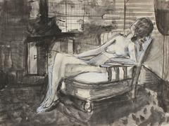 Monochromatic Bay Area Figurative Nude in Charcoal and Ink, 1971