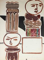 Abstracted Columns, Textile and Watercolor Collage, 1958