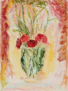 """Red Flowers in a Vase"" Watercolor Still Life, Circa 1970s"