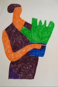 Abstracted Woman with Plant in Orange Green Blue, Felt Marker Drawing, 1970s