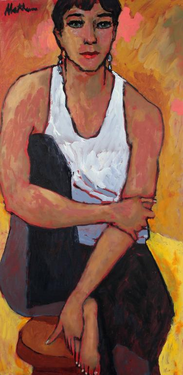 """Insurgent"" Seated Female Portrait in Oil, 2003"