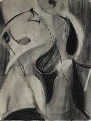 """New York"" Monochromatic Abstract in Charcoal, 1950"