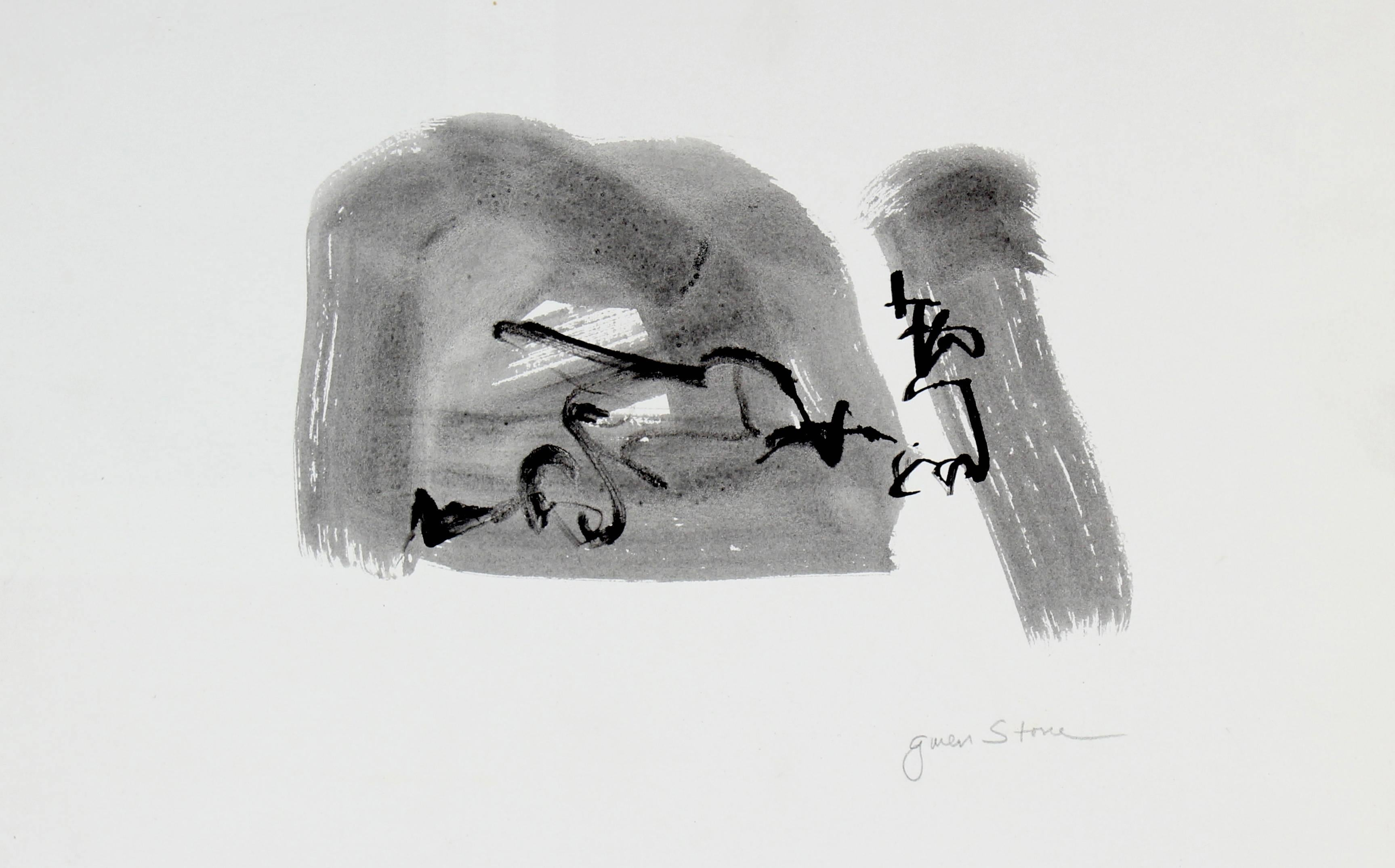 """Conversation"" Black Ink Wash Abstract, 20th Century"