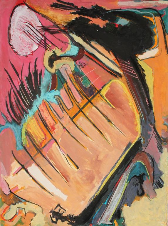 Jack Freeman Abstract Painting - Abstract Expressionist Painting in Pink and Orange, Circa 1960s