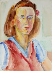 Expressionist Female Portrait in Watercolor, Mid 20th Century