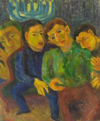 Expressionist Hanukkah Scene with Menorah, Oil on Canvas, 1956