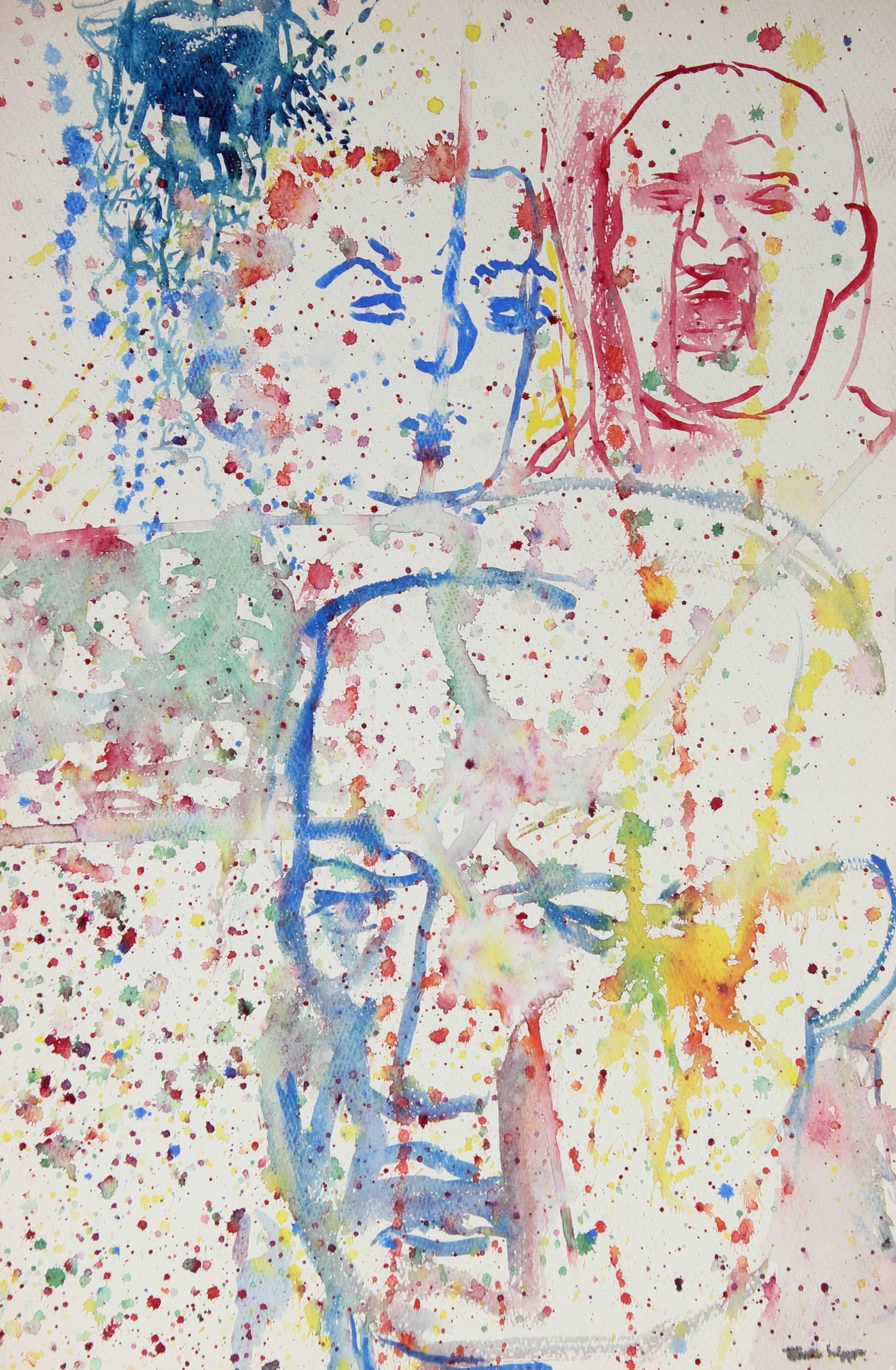 Modernist Paint Splattered Faces in Watercolor, Mid-Century