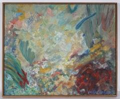 Oceanic Modernist Abstract Oil Painting, 1960