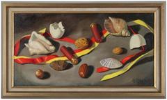 Realist Still Life with Shells, Oil on Canvas Still Life, Circa 1970s
