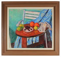 Still Life with Fruit, Oil on Canvas Painting, Mid 20th Century