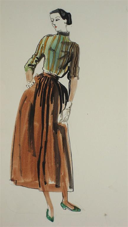 Marjorie Ullberg - Mid Century Fashion Illustration in Gouache, Circa 1950 1