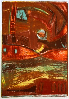 Abstract Lithograph in Warm Tones, Circa 1950