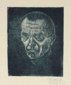 Secessionist Self-Portrait, Etching on Paper, Circa 1920