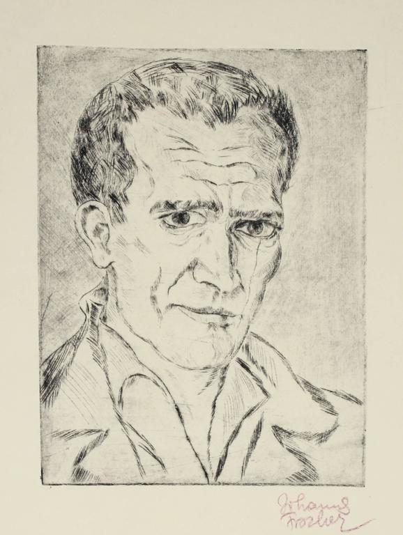Johannes Fischer - Secessionist Self-Portrait Etching, Circa 1920 1