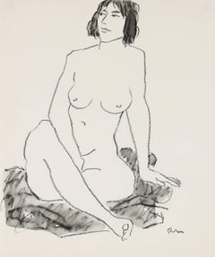 Seated Female Figure in Ink and Charcoal, 20th Century
