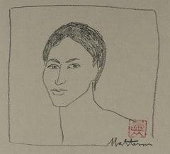 Minimalist Portrait in Charcoal, 20th Century