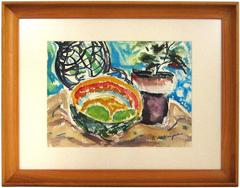 Still Life with Fruit Bowl and Plants, Watercolor Painting, Mid 20th Century